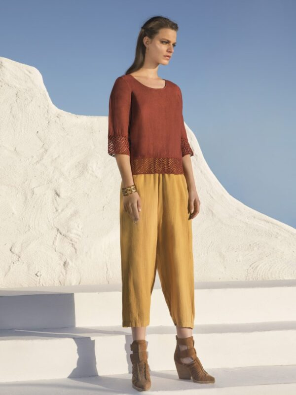 Linen top with sleeves (8176)