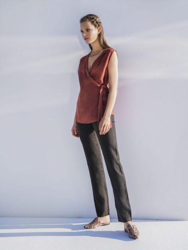 Linen straight pants (8102)