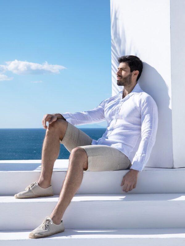 Linen slim fit shirt (4722Α)