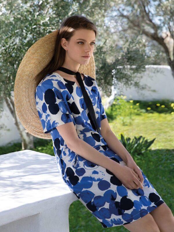 Φόρεμα με μανικάκι εμπριμέ (7068)