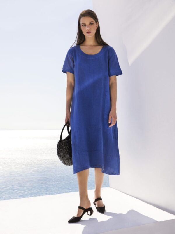 Long linen dress (8141)