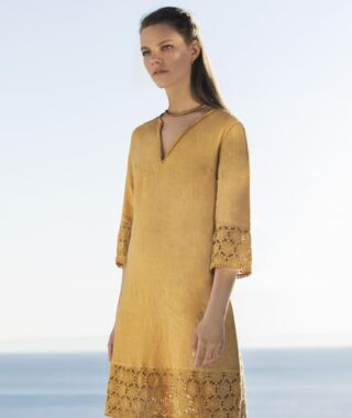 Linen dress with lace (8165)