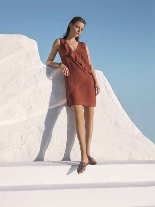 Linen dress with ruffle detail (8174)