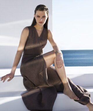 Linen wrap dress (8180)