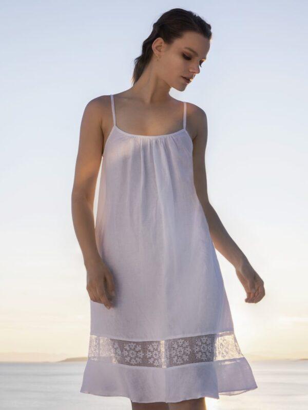 Φόρεμα λινό τιραντάκι (8182)