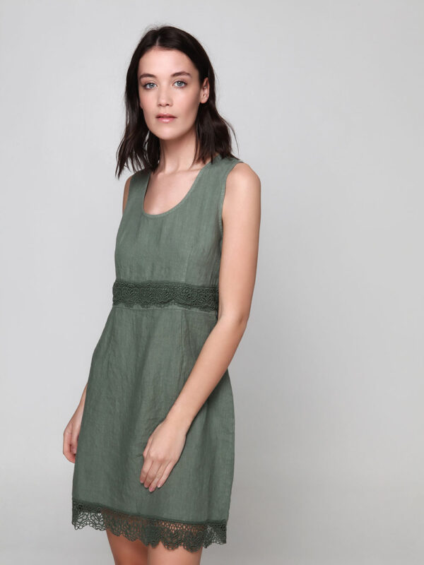 Linen dress with lace (845)