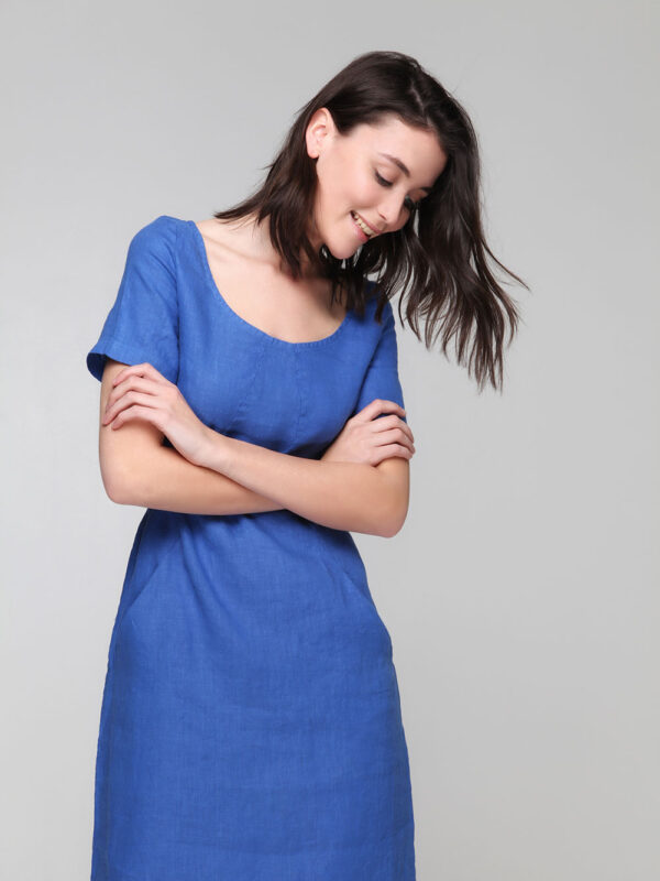 Linen dress with sleeves (8132Μ)