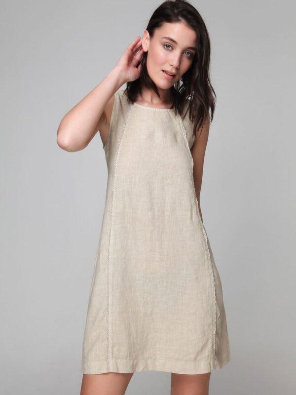 Φόρεμα λινό αμάνικο (8166)