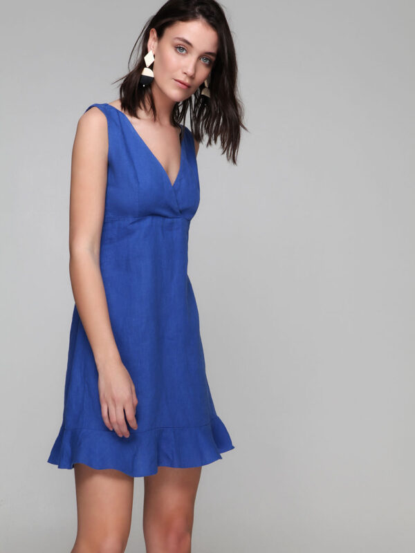 Φόρεμα λινό με βολάν (8145)
