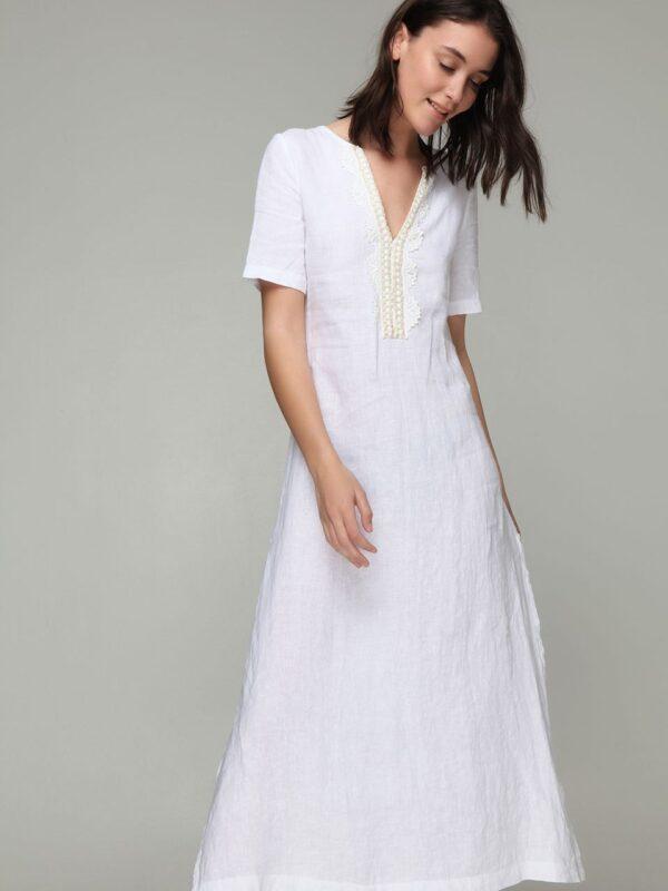 Linen dress with golden details (8169)