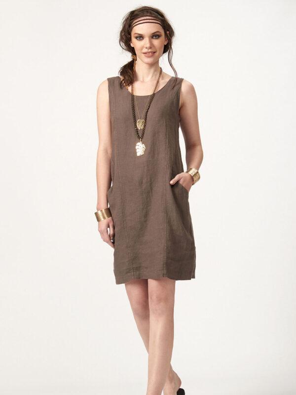 Φόρεμα λινό με δαντέλα στην πλάτη (859)