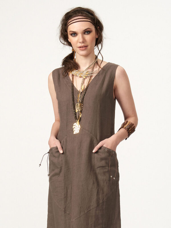 Linen dress with leather details (870)