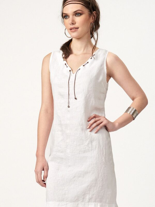 Linen dress with leather details (869)