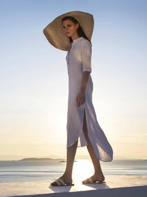 Linen maxi shirt dress (8167A)