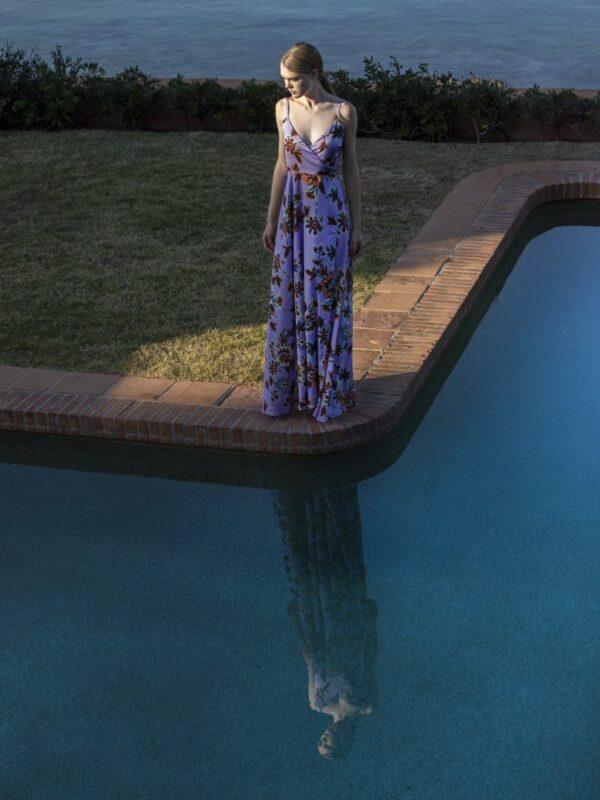 Φόρεμα κρουαζέ εμπριμέ (FY30118)
