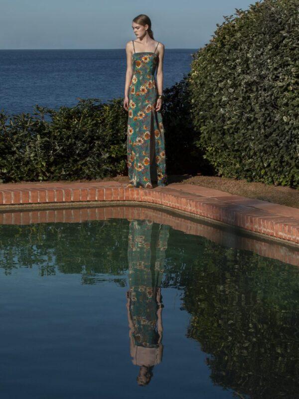 Φόρεμα σατέν εμπριμέ (FY3086)
