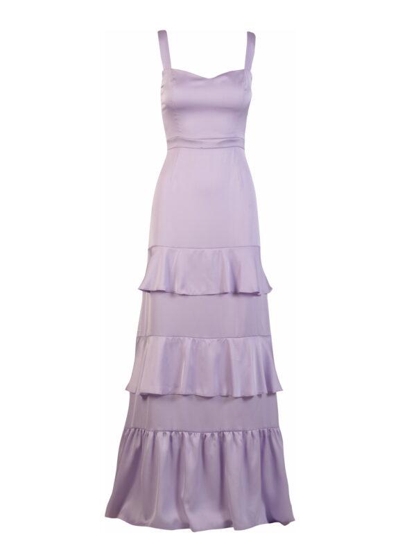 Φόρεμα σατέν με βολάν (FY34116)