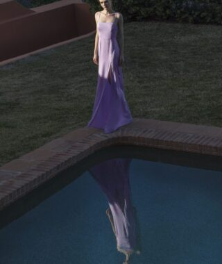 Φόρεμα σατέν με σκίσιμο (FY3486)
