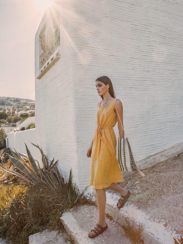 Linen sleeveless dress (8187)