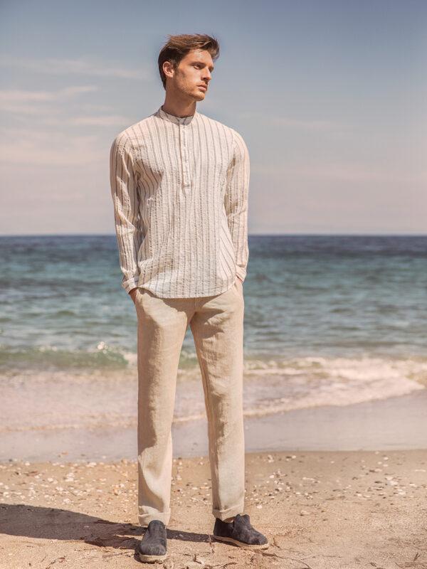 Cotton stripe blouse (7723)