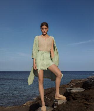 Linen high waist shorts (8110)