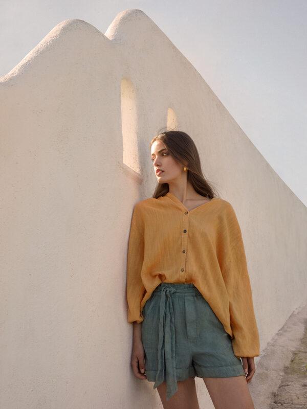 Linen-blend shirt (232)
