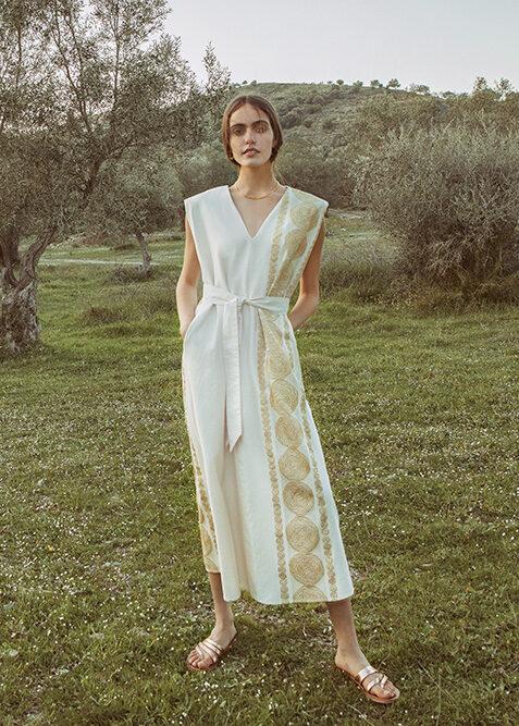 Embroidered shoulder pad dress (1585)