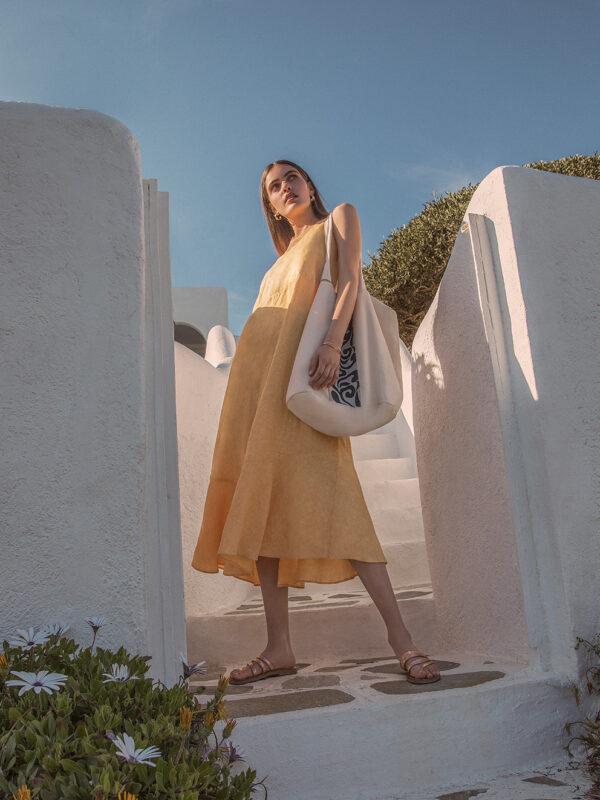 Linen ruffle dress (8189)