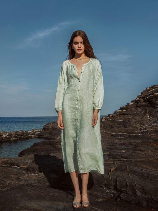Linen shirt dress (8186)