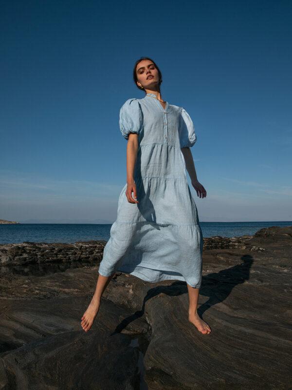 Linen ruffle shirt dress (8184)