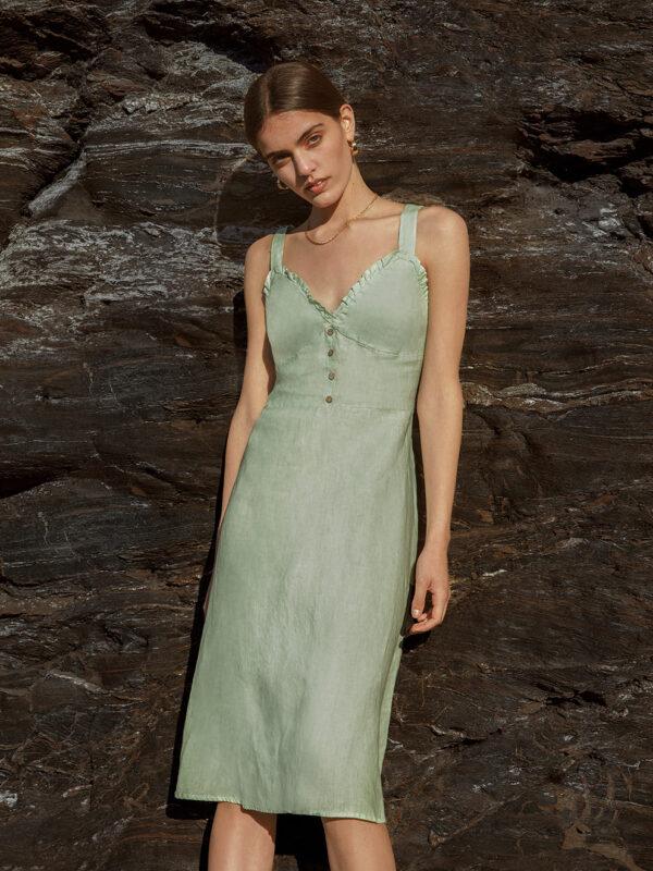 Linen midi dress (8190)