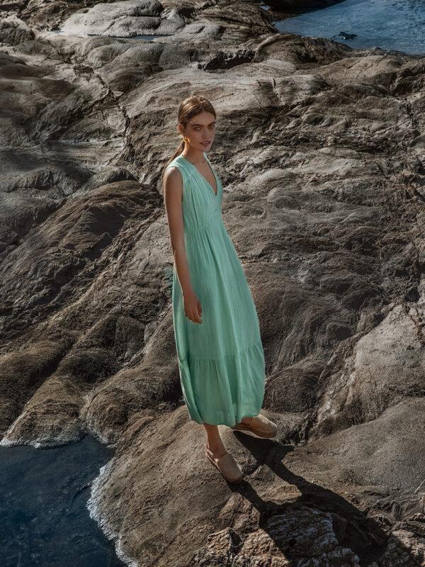 Linen-blend sleeveless dress (245)
